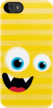 IPhone :: monster face laughing STRIPES - yellow by Kat Massard
