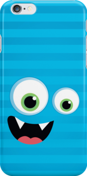 IPhone :: monster face laughing STRIPES - aqua blue by Kat Massard