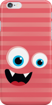 IPhone :: monster face laughing STRIPES - coral + melon by Kat Massard