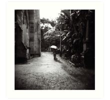 Rainy day in the cemetery Art Print