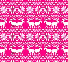 Magenta Holiday Ugly Sweater Moose Pattern by RexLambo