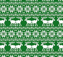 Green Holiday Ugly Sweater Moose Pattern by RexLambo