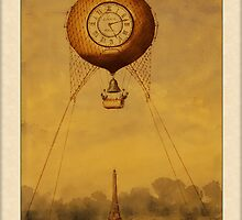 Vintage Hot Air Balloon with Clock Greetings by Yesteryears