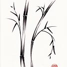 &quot;Morning&quot;  sumi-e brush pen bamboo drawing/painting by Rebecca Rees