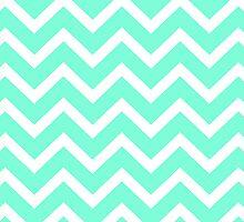 Tiffany Mint Aqua Blue Zigzag Chevron Pattern by RexLambo