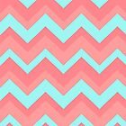 Salmon Aqua Chevron Zigzag Pattern by RexLambo