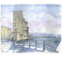 Castello sul mare a colori Poster