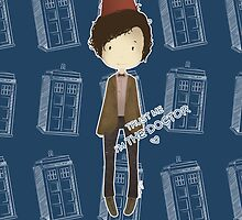 cute 11th Doctor and the TARDIS by koroa
