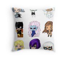 Chibi Heroines Throw Pillow