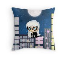 Chibi Black Cat Throw Pillow