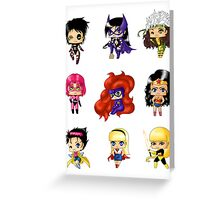 Chibi Heroines 2 Greeting Card