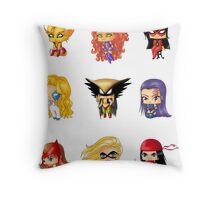 Chibi Heroines 3 Throw Pillow