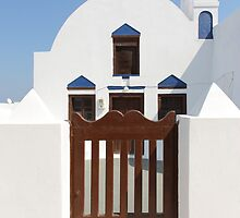 Church with Gate: Oia, Santorini by Carole-Anne