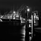Night Harbor II - Outer Banks BW by Dan Carmichael
