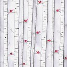 Cardinals in the Birches by Megan Stone