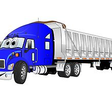 Semi Dump Truck Blue Trailer Cartoon by Graphxpro