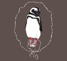 Penguin in Red Converse Crest T-Shirt