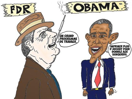 Politique économique de Roosevelt et Obama caricature by Binary-Options