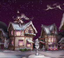 Ponyville, Dusk, Snowy by Stinkehund