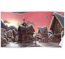 Ponyville, Dawn, Snowy Poster
