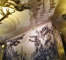 Artwork on Ceiling and Wall, Rockefeller Center Interior, New York City by lenspiro