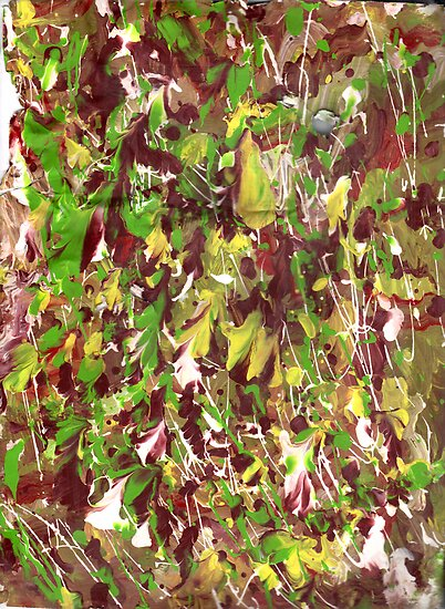 GREEN AND YELLOW STREAKY ABSTRACT by karen66