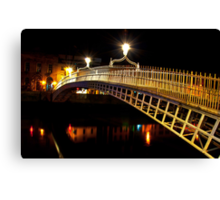 Ha'Penny Bridge At Night Canvas Print