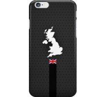 UK Flag and Map - Black Stripe on Dark gray iPhone Case/Skin
