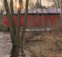 Setting Winter Sun Behind The Horsham Covered Bridge by Gene Walls