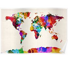 Map of the World Map Abstract Painting Poster