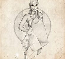 Canada Day Pinup Girl Sketch by Brent Schreiber