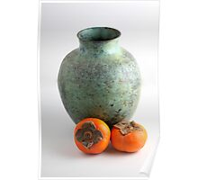Persimmon with vase Poster