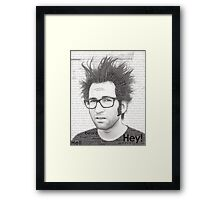 Typography Portrait of Justin Pierre (singer/guitarist) of Motion City Soundtrack Framed Print