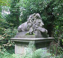 Highgate cemetery - lion memorial by Karen Hood