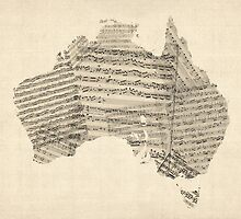 Old Sheet Music Map of Australia Map by ArtPrints