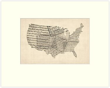 United States Old Sheet Music Map by ArtPrints