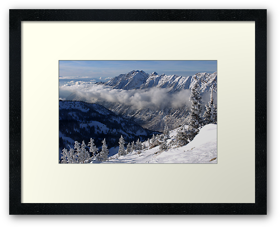 Mountains from summit of Snowbird ski resort in Utah by Anton Oparin