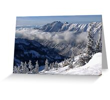 Mountains from summit of Snowbird ski resort in Utah Greeting Card