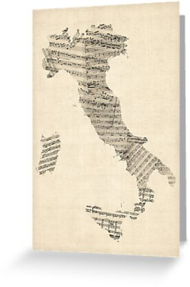 Old Sheet Music Map of Italy Map by Michael Tompsett