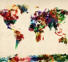 Map of the World Map Abstract Painting by ArtPrints
