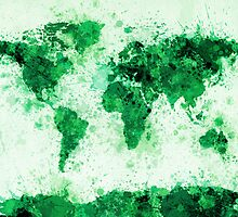 World Map Paint Splashes Green by Michael Tompsett