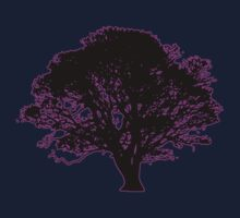 purple and black tree retro truck stop tee   by Tia Knight