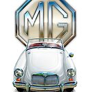 MGA Sports Car Print in White by davidkyte