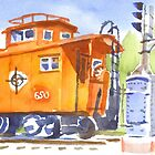 Red Caboose with Signal  by KipDeVore