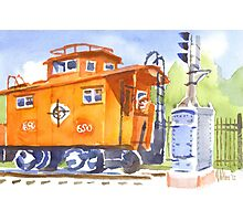 Red Caboose with Signal  Photographic Print