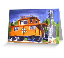 Caboose with Silver Signal Greeting Card