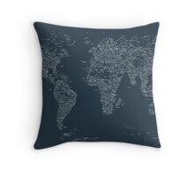 World Map of Cities Throw Pillow