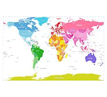 Continents World Map Photographic Print