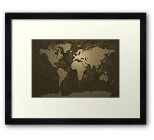 World Map Gold Framed Print