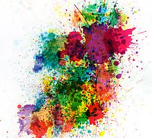 Ireland Map Paint Splashes by Michael Tompsett
